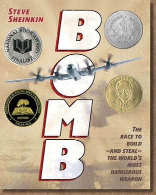 Book cover for Bomb by Steve Sheinkin showing an old war plane