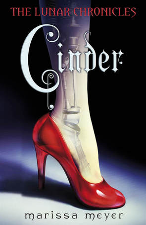 Book cover for Cinder by Marissa Meyer showing a cyborg leg in a red high heel