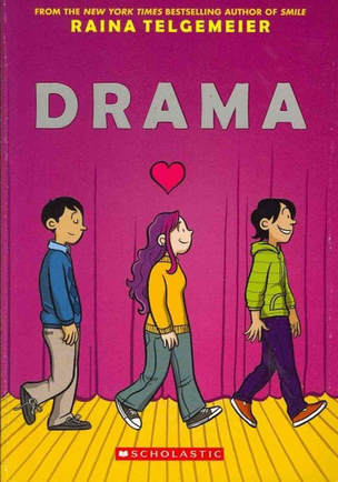 Book cover for Drama by Raina Telgemeier showing three cartoon characters on stage