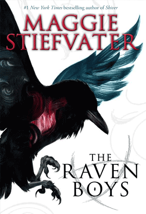 Book cover for The Raven Boys by Maggie Stiefvater showing a raven
