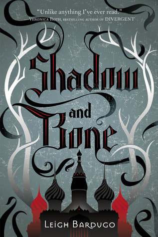 Book cover for Shadow and Bone by Leigh Bardugo featuring a castle